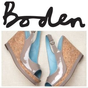 Boden patent leather gray slingback wedge sandals